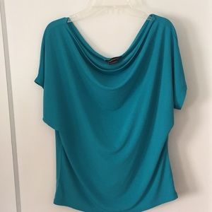 draped turquoise knit top, size S/ M